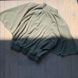 Zara Olive Open Back High Neck Mesh Crop Top In S